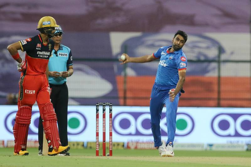 Ravichandran Ashwin of Delhi Capitals bowls during match 55 of season 13 of the Dream 11 Indian Premier League (IPL) between the Delhi Capitals and the Royal Challengers Bangalore at the Sheikh Zayed Stadium, Abu Dhabi in the United Arab Emirates on the 2nd November 2020.  Photo by: Vipin Pawar  / Sportzpics for BCCI