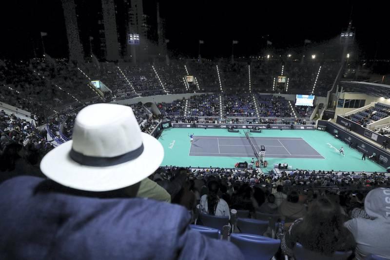 Abu Dhabi, United Arab Emirates - Reporter: Jon Turner: Karen Khachanov serves during the semi final between Rafael Nadal v Karen Khachanov at the Mubadala World Tennis Championship. Friday, December 20th, 2019. Zayed Sports City, Abu Dhabi. Chris Whiteoak / The National