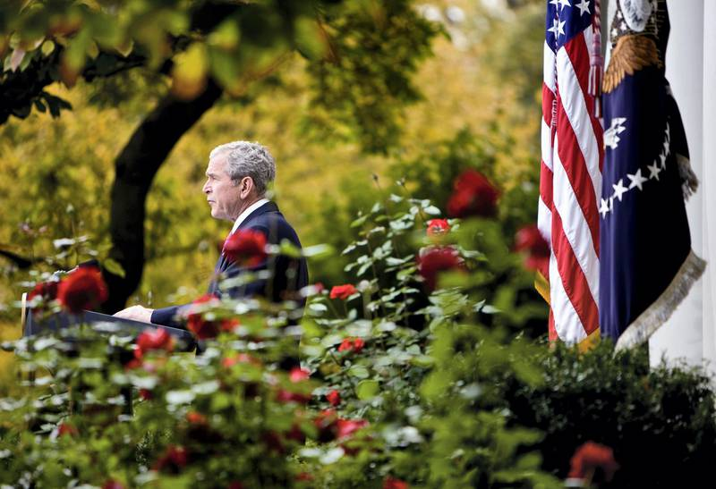 UNITED STATES - NOVEMBER 05:  U.S. President George W. Bush makes a statement from the Rose Garden of the White House in Washington, D.C., U.S., on Wednesday, Nov. 5, 2008. Bush said the election of Barack Obama as president of the U.S. is a ``dream fulfilled'' for the civil rights movement and a victory for all Americans.  (Photo by Joshua Roberts/Bloomberg via Getty Images)