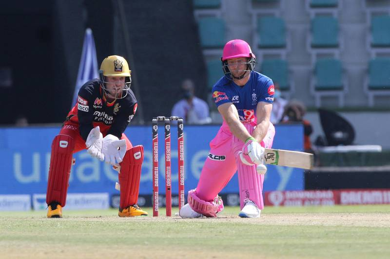 Jos Buttler of Rajasthan Royals plays a shot during match 15 of season 13 of Indian Premier League (IPL) between the Royal Challengers Bangalore and the Rajasthan Royals at the Sheikh Zayed Stadium, Abu Dhabi  in the United Arab Emirates on the 3rd October 2020.  Photo by: Pankaj Nangia  / Sportzpics for BCCI