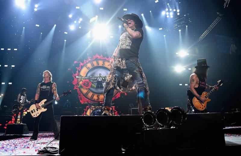 """NEW YORK, NY - OCTOBER 11:  Axl Rose of Guns N' Roses performs onstage during the """"Not In This Lifetime..."""" Tour  at Madison Square Garden on October 11, 2017 in New York City.  (Photo by Kevin Mazur/Getty Images for Live Nation)"""