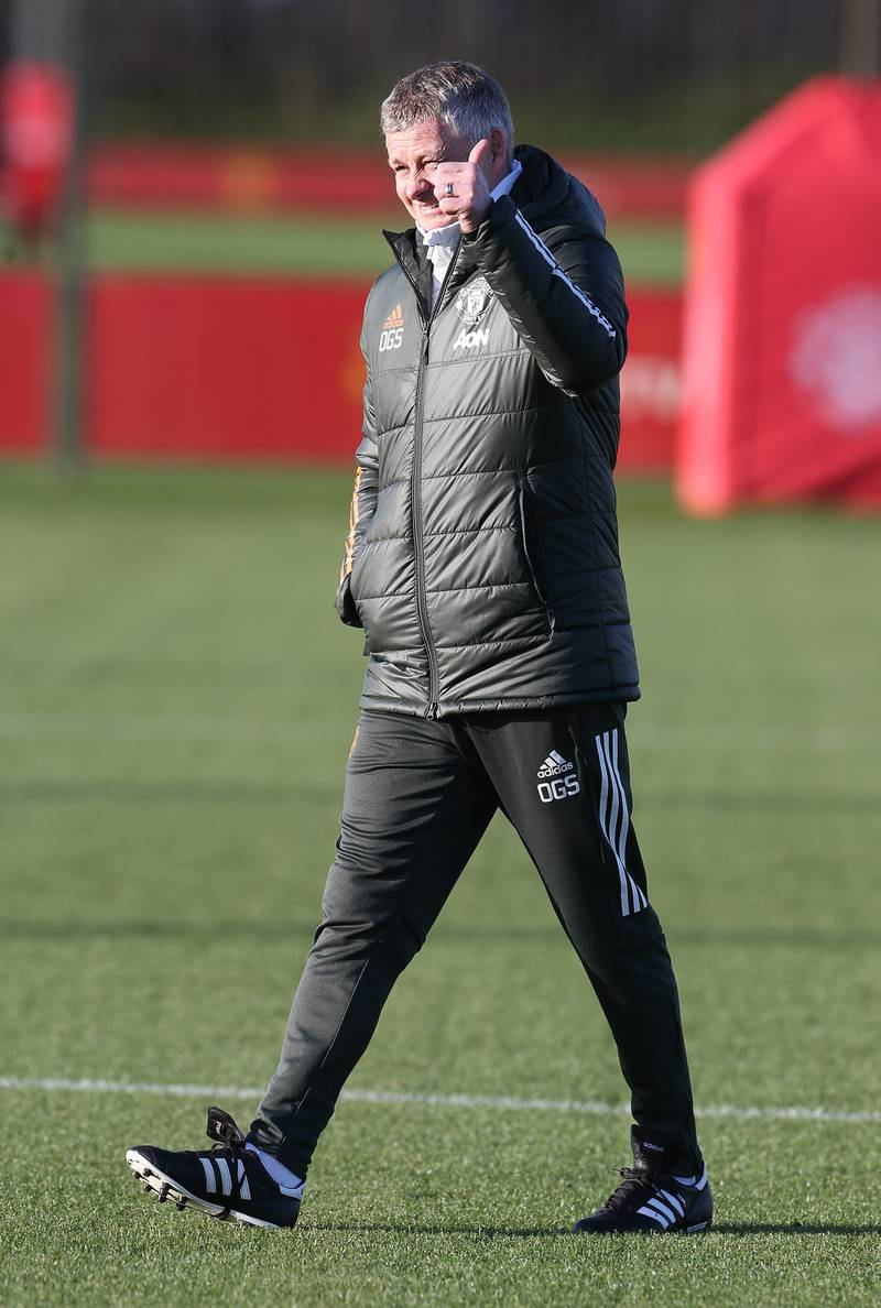 MANCHESTER, ENGLAND - DECEMBER 27: (EXCLUSIVE COVERAGE)  Manager Ole Gunnar Solskjaer of Manchester United in action during a first team training session at Aon Training Complex on December 27, 2020 in Manchester, England. (Photo by Matthew Peters/Manchester United via Getty Images)