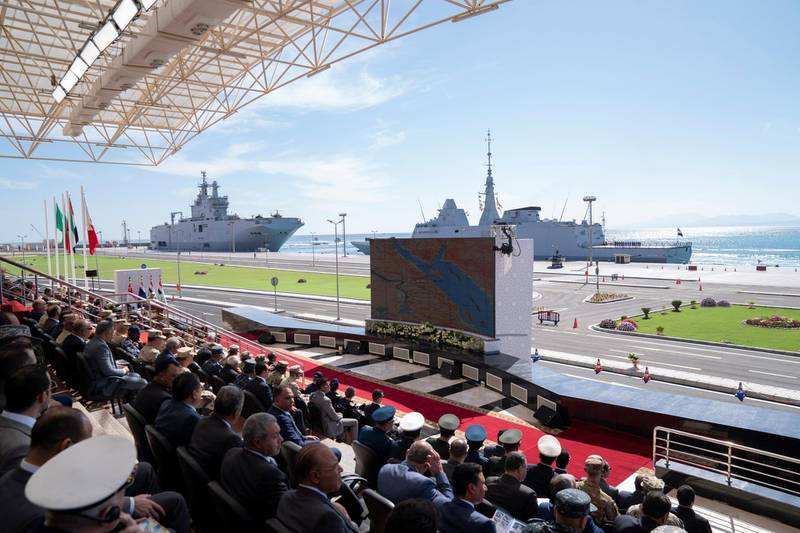 BERENICE, EGYPT - January 15, 2020: General view of the opening ceremony of BereniceMilitary Base.  ( Mohamed Al Hammadi / Ministry of Presidential Affairs ) —