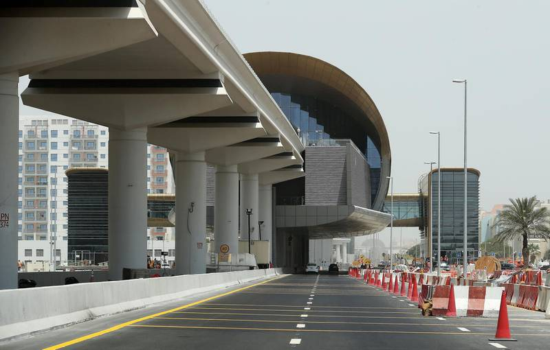 DUBAI, UNITED ARAB EMIRATES , July 9 – 2020 :- View of the Al Furjan metro station in Al Furjan area in Dubai. The New Expo 2020 metro route between Discovery Gardens and Al Furjan area will open to the public in September.  (Pawan Singh / The National) For News/Standalone/Online/Stock. Story by Kelly