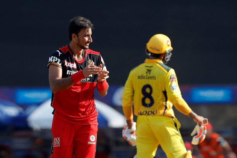 Harshal Patel of Royal Challengers Bangalore celebrates the wicket of Ambati Rayudu of Chennai Super Kings  during match 19 of the Vivo Indian Premier League 2021 between the Chennai Super Kings and the Royal Challengers Bangalore held at the Wankhede Stadium Mumbai on the 25th April 2021.  Photo by Saikat Das / Sportzpics for IPL