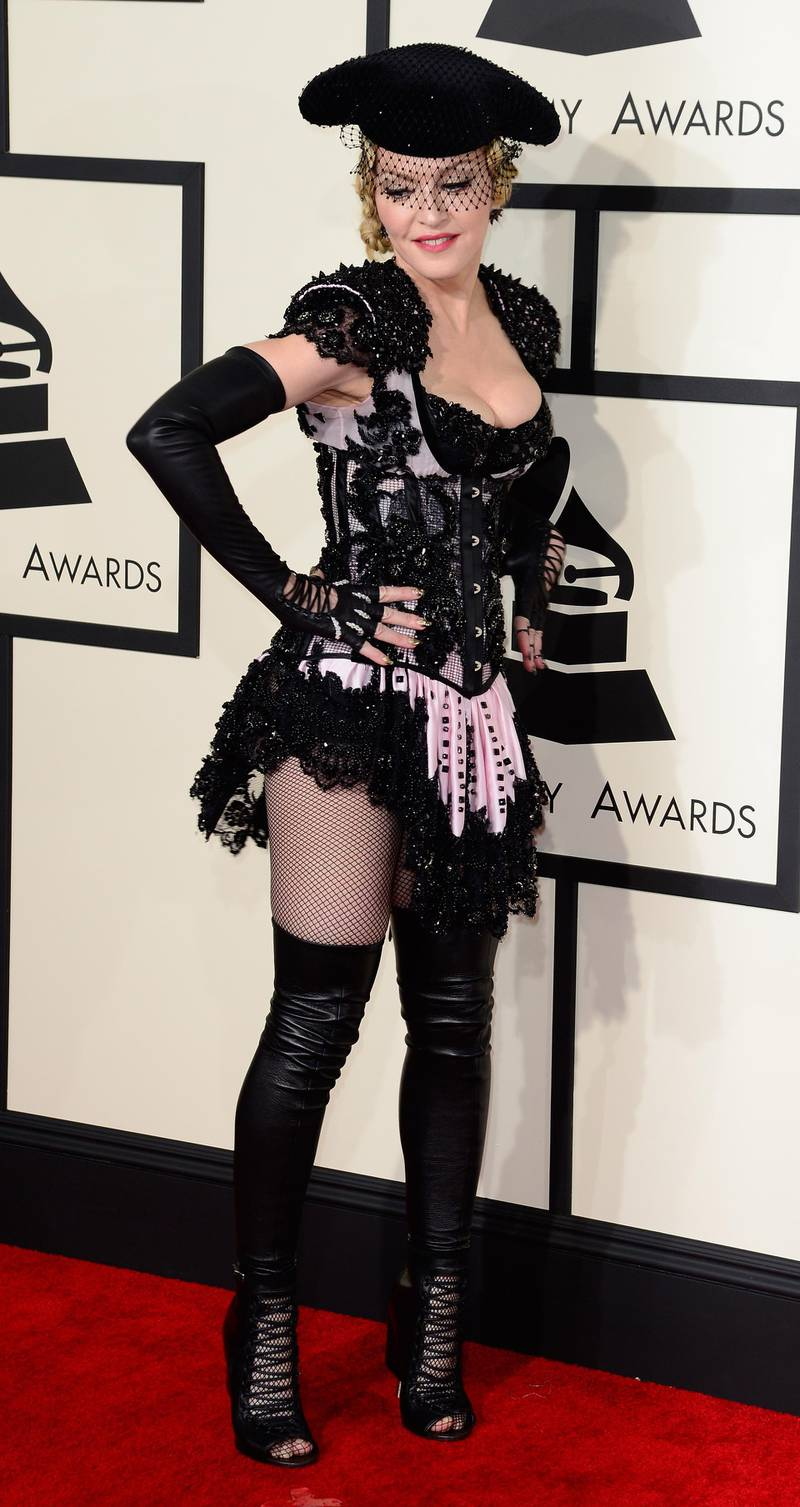 epa04610564 US singer Madonna arrives for the 57th annual Grammy Awards held at the Staples Center in Los Angeles, California, USA, 08 February 2015.  EPA/MICHAEL NELSON