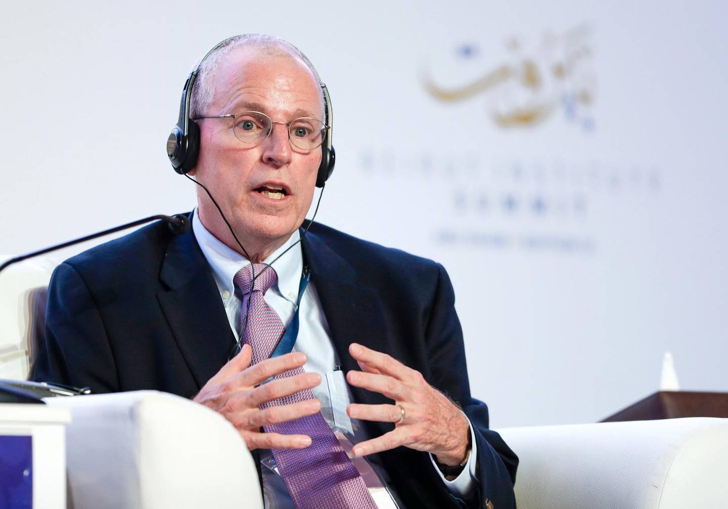 Abu Dhabi, United Arab Emirates, October 14, 2019.   Beirut Institute Summit at The St. Regis Abu Dhabi - Corniche. --     Dealing with Conflicts: the Importance of the Human Infrastructure:--Ambassador Robert Ford , Professor at Yale University Victor Besa / The NationalSection:  NAReporter:  Dan Sanderson