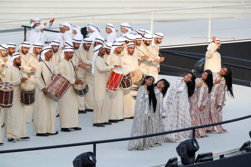ABU DHABI, UNITED ARAB EMIRATES. 14 MARCH 2019. Emirati Traditional dances and songs as part of the opening Ceremony of the Special Olympics at Zayed Sports City. (Photo: Antonie Robertson/The National) Journalist: None: National.