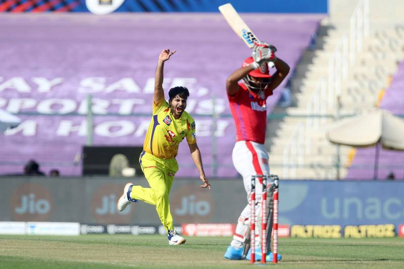 Shardul Thakur of Chennai Superkings celebrates the wicket of Nicholas Pooran of Kings XI Punjab during match 53 of season 13 of the Dream 11 Indian Premier League (IPL) between the Chennai Super Kings and the Kings XI Punjab at the Sheikh Zayed Stadium, Abu Dhabi  in the United Arab Emirates on the 1st November 2020.  Photo by: Vipin Pawar  / Sportzpics for BCCI