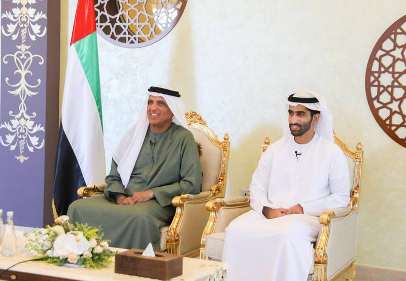 ABU DHABI, UNITED ARAB EMIRATES - October 27, 2020: HH Sheikh Saud bin Saqr Al Qasimi, UAE Supreme Council Member and Ruler of Ras Al Khaimah (L) participates in an online wedding ceremony, celebrating the marriage of HH Sheikh Mohamed bin Sultan bin Khalifa Al Nahyan (not shown) and HH Sheikha Fatima bint Tahnoun bin Zayed Al Nahyan (not shown), at the Sea Palace.   ( Handout ) ---