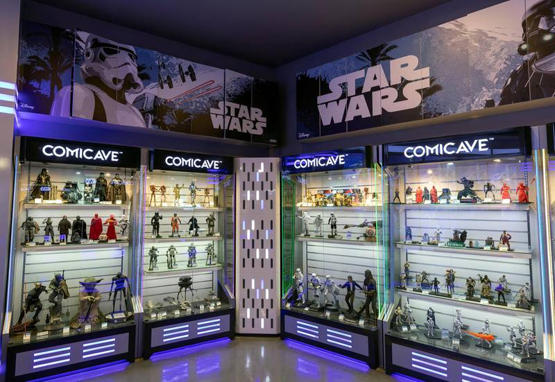 Dubai, United Arab Emirates - May 26, 2019: Photo Project. Star Wars section of the store. Comicave is the WorldÕs largest pop culture superstore involved in the retail and distribution of high-end collectibles, pop-culture merchandise, apparels, novelty items, and likes. Thursday the 30th of May 2019. Dubai Outlet Mall, Dubai. Chris Whiteoak / The National