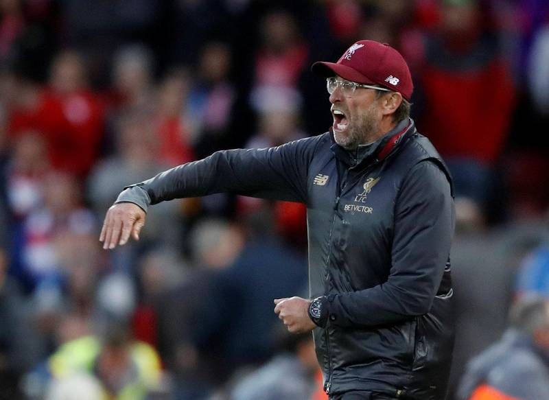 """Soccer Football - Premier League - Liverpool v Manchester City - Anfield, Liverpool, Britain - October 7, 2018  Liverpool manager Juergen Klopp reacts  Action Images via Reuters/Carl Recine   EDITORIAL USE ONLY. No use with unauthorized audio, video, data, fixture lists, club/league logos or """"live"""" services. Online in-match use limited to 75 images, no video emulation. No use in betting, games or single club/league/player publications.  Please contact your account representative for further details."""