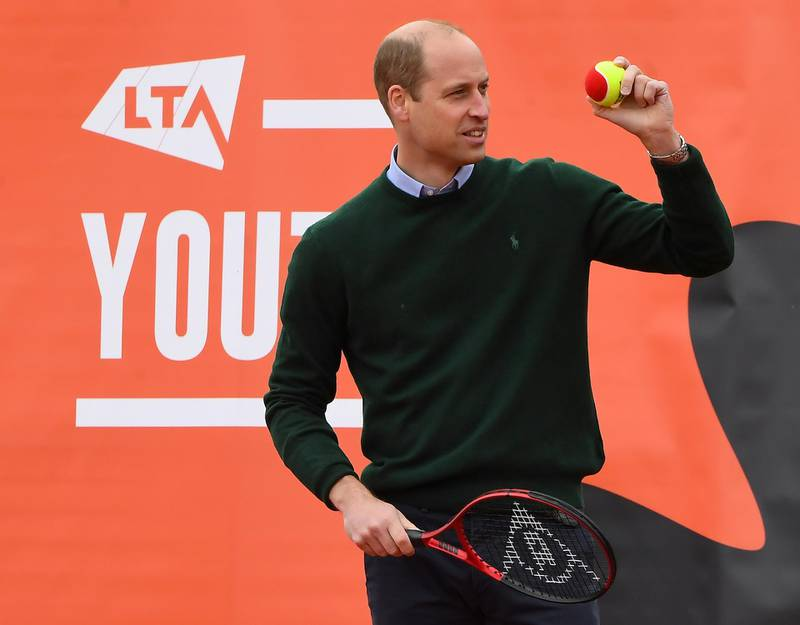 Britain's Prince William, Duke of Cambridge plays tennis games with local school children as part of the Lawn Tennis Association's (LTA) Youth programme, at Craiglockhart  Tennis Centre in Edinburgh, Scotland, Britain May 27, 2021. Andy Buchanan/Pool via REUTERS