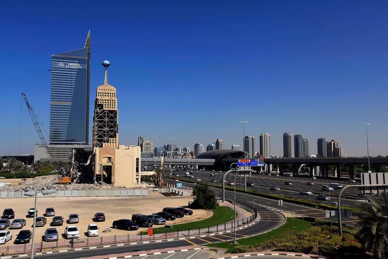 Dubai, United Arab Emirates- February, 05, 2013;  Demolition work has begun to level the expats hotspot  Hard Rock Cafe in Dubai . (  Satish Kumar / The National ) For News