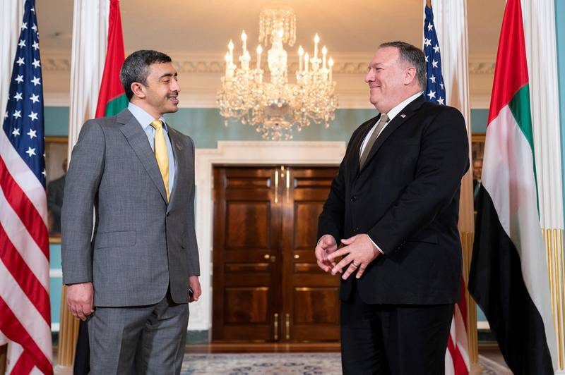 WASHINGTON, DC, 17th September, 2020 (WAM) -- Concluding his visit to Washington, DC, for the historic signing of the UAE-Israel Peace Accord, H.H. Sheikh Abdullah bin Zayed Al Nahyan, Minister of Foreign Affairs and International Cooperation, met with US Secretary of State Mike Pompeo and senior Members of Congress. Wam