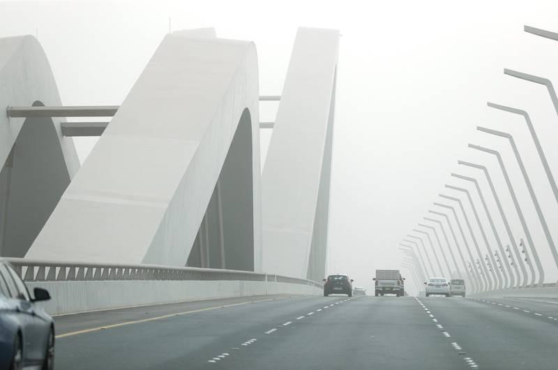 Abu Dhabi, United Arab Emirates, July 21, 2020.     Sandstorm at Sheih Zayed Bridge, Abu Dhabi.Victor Besa  / The NationalSection: NAFor:  Standalone / Stock