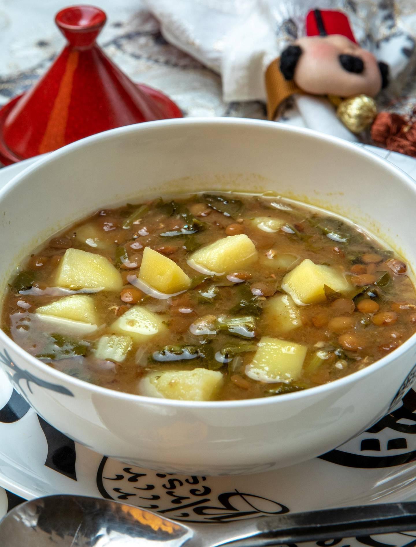 Abu Dhabi, United Arab Emirates, April 10, 2021.  Ramadan Recipes.  Lentil with Swiss Chard Soup.Victor Besa/The NationalSection:  ACReporter:  Hanan Sayed Worrell