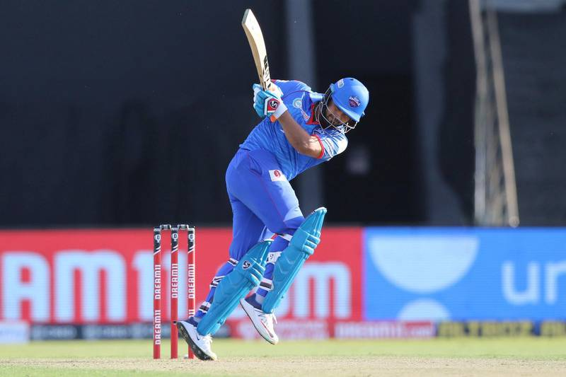 Rishabh Pant of Delhi Capitals  plays a shot during match 42 of season 13 of the Dream 11 Indian Premier League (IPL) between the Kolkata Knight Riders and the Delhi Capitals at the Sheikh Zayed Stadium, Abu Dhabi  in the United Arab Emirates on the 24th October 2020.  Photo by: Pankaj Nangia  / Sportzpics for BCCI