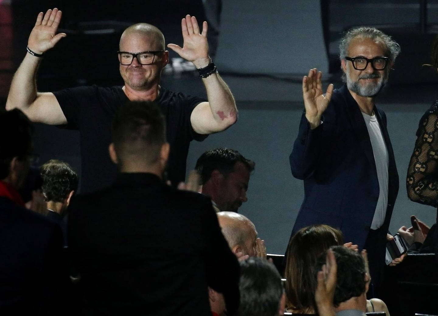 Chefs Heston Blumenthal and Massimo Bottura react during the World's 50 Best Restaurants Awards at the Marina Bay Sands in Singapore, June 25, 2019. REUTERS/Feline Lim