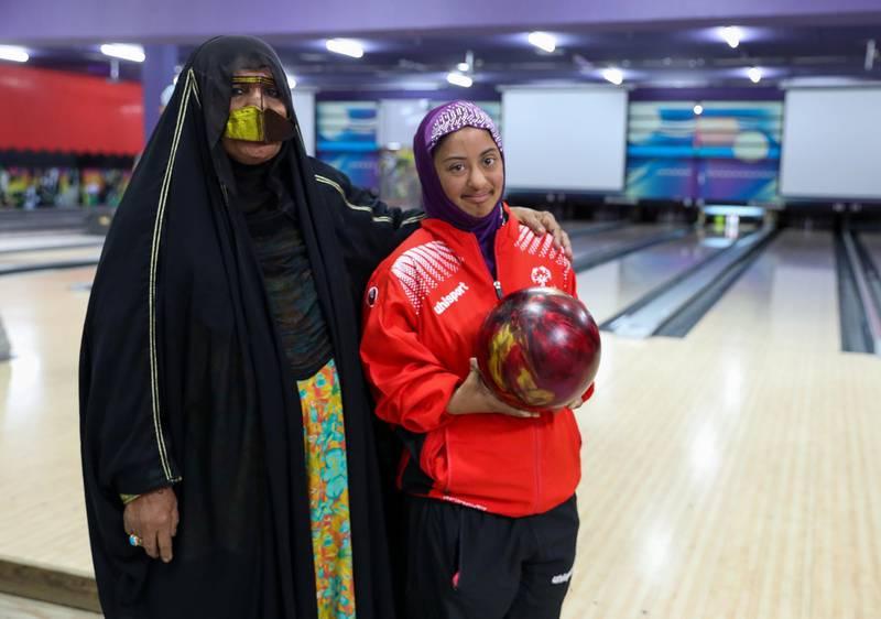 Al Ain, UAE, March 8, 2018.  UAE Special Olympics team training sessions.  UAE Women's Bowling Team, Mariam Ahmed Khalis with mother, Zafrana.Victor Besa / The NationalNationalReporter; Ramola Talwar