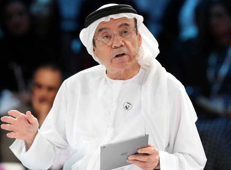 Abu Dhabi, United Arab Emirates - April 08, 2019: HE Zaki Nusseibeh, UAE Minister of State speaks on the topic of Cultural diplomacy and responsibility in the age of technology at the Culture Summit 2019. Manarat Al Saadiyat, Abu Dhabi. Chris Whiteoak / The National