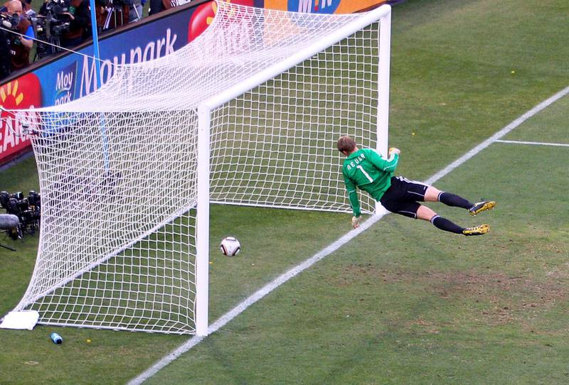 BLOEMFONTEIN, SOUTH AFRICA - JUNE 27:  Manuel Neuer of Germany watches the ball bounce over the line from a shot that hit the crossbar from Frank Lampard of England, but referee Jorge Larrionda judges the ball did not cross the line during the 2010 FIFA World Cup South Africa Round of Sixteen match between Germany and England at Free State Stadium on June 27, 2010 in Bloemfontein, South Africa.  (Photo by Cameron Spencer/Getty Images)