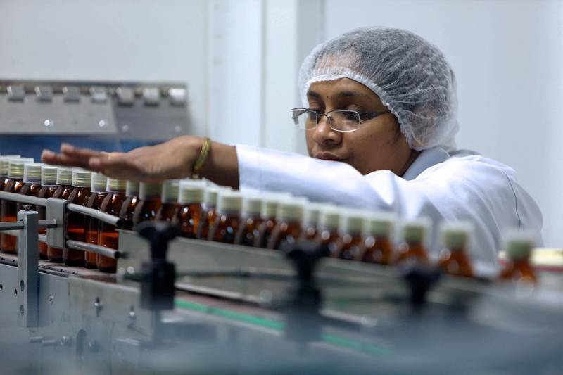 RAK , UNITED ARAB EMIRATES : July 8 , 2013 - Packing of the bottles in the J 1 unit at Gulf Pharmaceutical Industries in Ras Al Khaimah. In this J 1 unit they are making tablet and capsule medicine. ( Pawan Singh / The National ) . For Business.