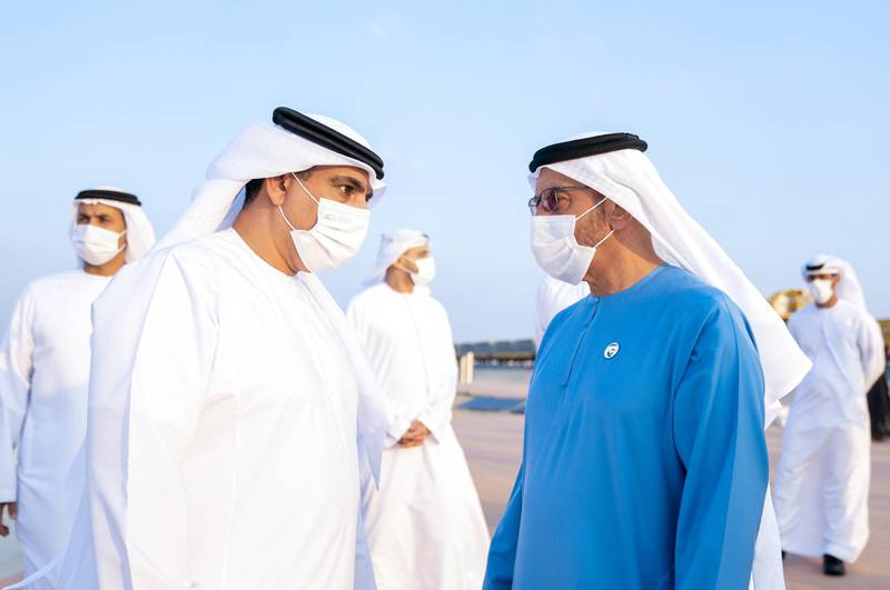 *** GENERAL CAPTION ***ABU DHABI, UNITED ARAB EMIRATES -January 06, 2021: HH Sheikh Theyab bin Mohamed bin Zayed Al Nahyan, Chairman of the Department of Transport, and Abu Dhabi Executive Council Member( Rashed Al Mansoori / Ministry of Presidential Affairs )---