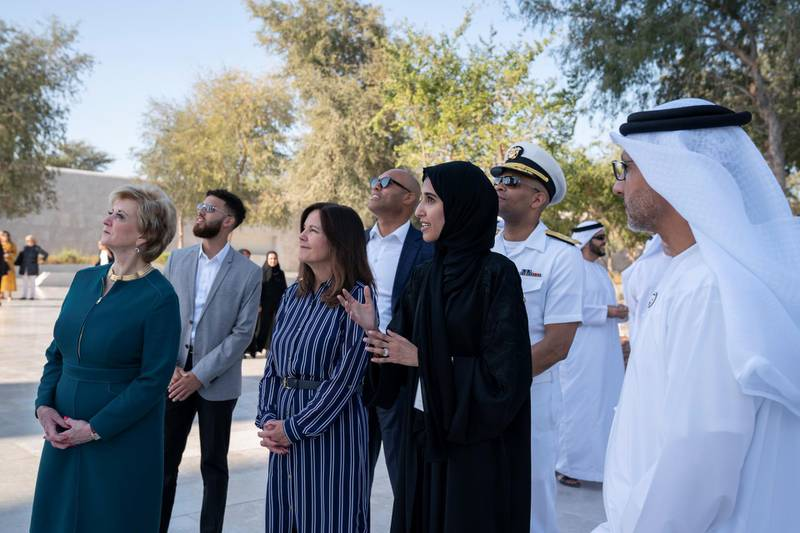 ABU DHABI, UNITED ARAB EMIRATES - March 13, 2019: Karen Pence, Second Lady of the United States (3rd R), tours the Founders Memorial prior exchanging gifts during a reception for the Special Olympics World Games Abu Dhabi 2019. Seen with Linda McMahon, Administrator of theSmall Business Administration (L).  ( Mohammed Al Hammadi / Ministry of Presidential Affairs )?
