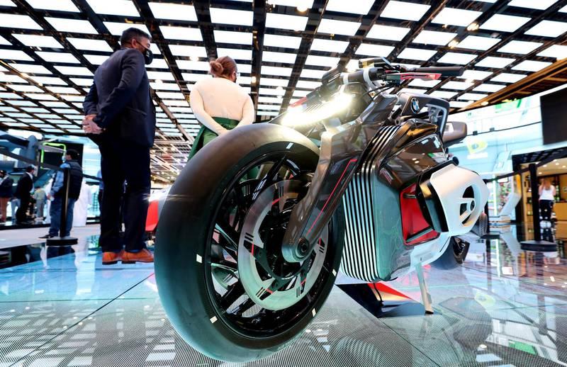 Dubai, United Arab Emirates - December 06, 2020: BMW Motorrad Vision DC Roadster during GITEX 2020 at the World Trade Centre. December 6th, 2020 in Dubai. Chris Whiteoak / The National