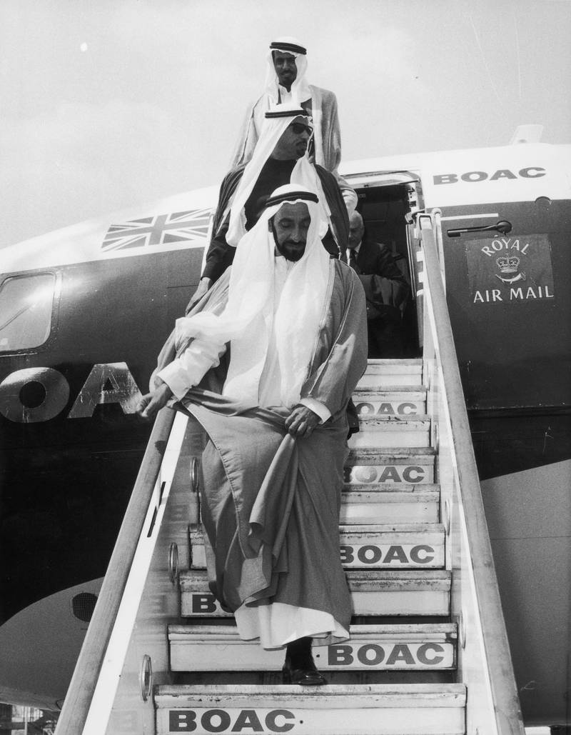 10h June 1969:  Sheikh Zayed bin Sultan al-Nahayan, ruler of Abu Dhabi arrives at Heathrow Airport,  London, at the start of his first official visit to Britain.  (Photo by Tim Graham/Fox Photos/Getty Images) *** Local Caption *** **EDS NOTE*** FOR USE WITH TIME FRAME /REVIEW SECTION*** PLEASE SPEAK WITH KAREN OR JO.