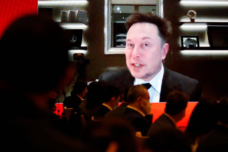 Tesla Inc Chief Executive Officer Elon Musk attends via video link a session at the China Development Forum held in Beijing, China March 20, 2021. REUTERS/Roxanne Liu  NO RESALES. NO ARCHIVES.