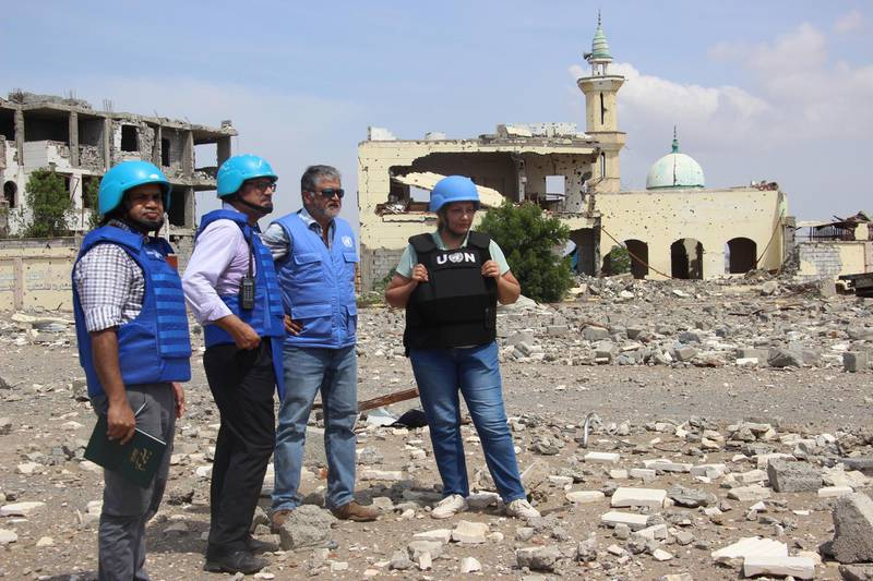 epa07934857 Newly-appointed Lieutenant General of India Abhijit Guha (2-R), chair of the UN's redeployment coordination committee in Hodeidah city, and his team oversee the deployment of observers on cross-lines in Hodeidah, Yemen, 19 October 2019. According to reports, Lieutenant General of India Abhijit Guha, chair of the UN's redeployment coordination committee in the Yemeni city of Hodeidah, oversaw the deployment of observers on cross-lines and checkpoints in Hodeidah to stabilize the ceasefire and activate a new procedure for de-escalation in the port city between the Houthi rebels and the Saudi-backed government forcers. Hodeidah is the key lifeline entry point for most of the Arab country's food imports and humanitarian aid.  EPA/NAJEEB ALMAHBOOBI