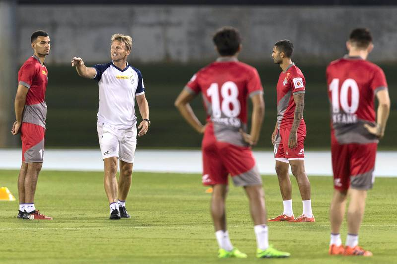 Dubai, United Arab Emirates, November 2, 2017:     Teddy Sheringham coaches members of the Indian football club ATK during a training session at the Nad Al Sheba Sports Complex in the Nad Al Sheba area of Dubai on November 2, 2017. Christopher Pike / The NationalReporter: Paul RadleySection: Sport