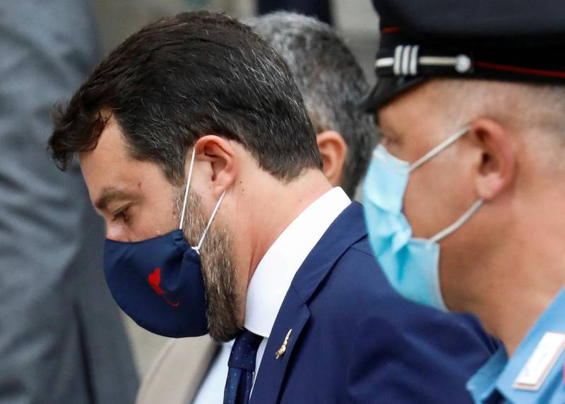 Far-right leader Matteo Salvini, who is accused of illegally blocking more than 100 people aboard a coastguard ship in 2019, is seen outside the court in Catania, Italy, October 3, 2020. REUTERS/Antonio Parrinello     TPX IMAGES OF THE DAY