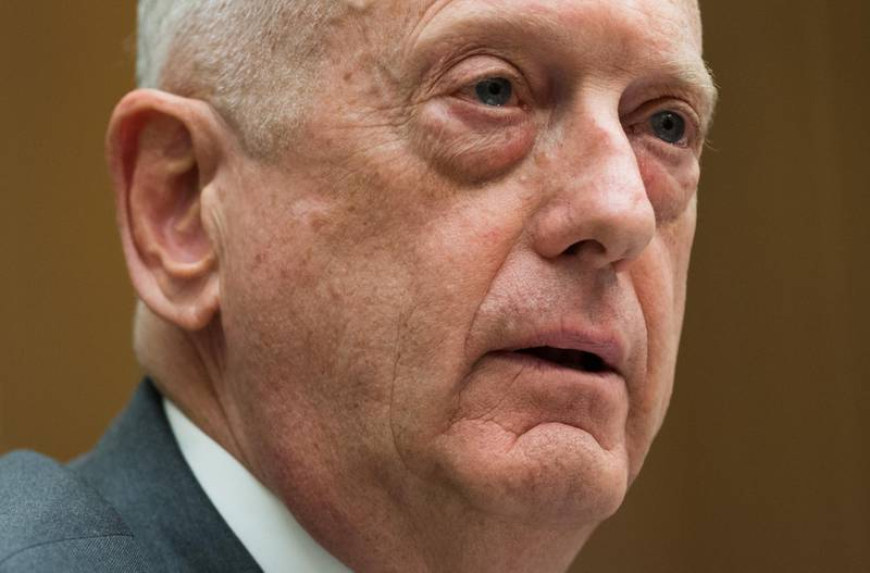 """(FILES) In this file photo taken on April 12, 2018 US Secretary of Defense James Mattis testifies about the Fiscal Year 2019 National Defense Authorization budget request during a House Armed Services Committee hearing on Capitol Hill in Washington, DC. Defense Secretary Jim Mattis bade farewell to the Pentagon on December 31, 2018, telling the US military to """"hold fast"""" after he quit over a series of fundamental differences with President Donald Trump. / AFP / SAUL LOEB"""