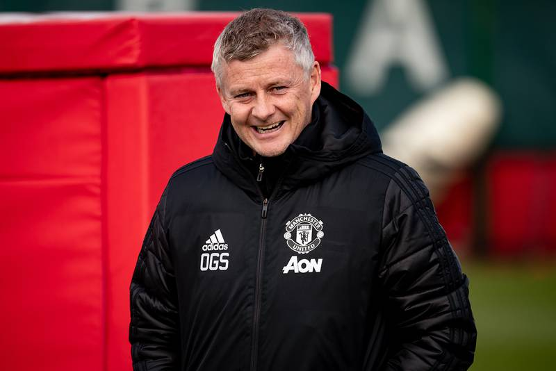 MANCHESTER, ENGLAND - APRIL 07:  Manchester United Head Coach / Manager Ole Gunnar Solskjaer reacts  during a first team training session at Aon Training Complex on April 7, 2021 in Manchester, England. (Photo by Ash Donelon/Manchester United via Getty Images)