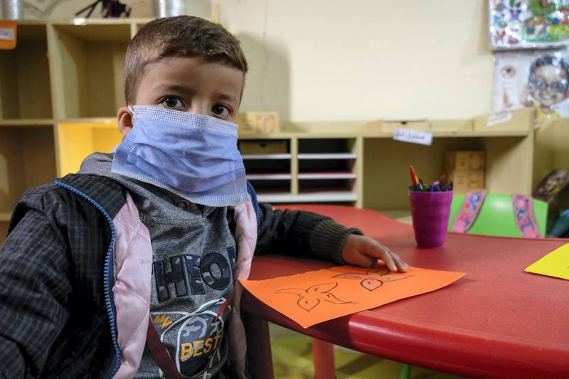 Children on their first day back to kindergarten in Al Baqa'a camp, following Covid-19 school closures. Amy McConaghy/ The National