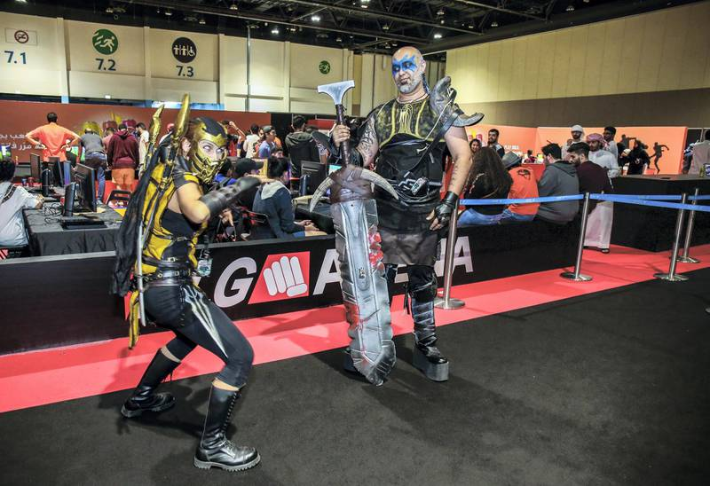 November 24, 2017. (l_R) Scorpio and Barbarian (Maria StojkovicOmar Sharif) of Mortal Combat during the Games Con Middle East at ADNEC.Victor Besa for The NationalACRequested by: Clare Dight