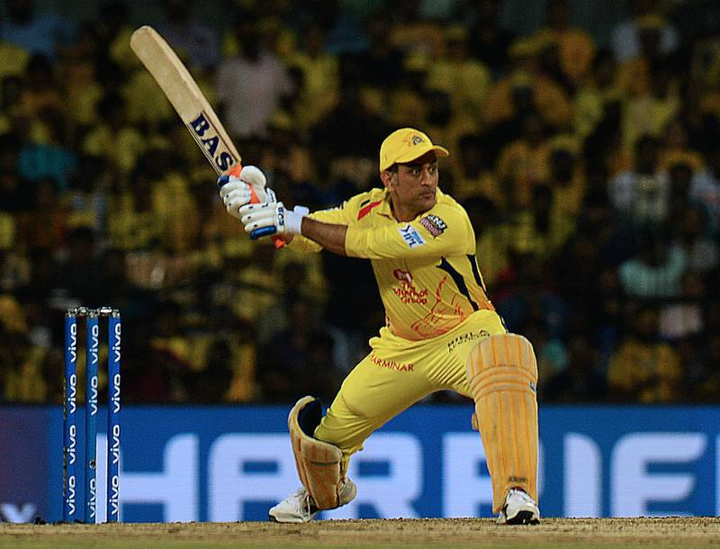 Chennai Super Kings cricket captain Mahendra Singh Dhoni plays a shot during the 2019 Indian Premier League (IPL) first qualifier Twenty20 cricket match between Chennai Super Kings and Mumbai Indians at the M.A. Chidambaram Stadium in Chennai on May 7, 2019. (Photo by ARUN SANKAR / AFP) / ----IMAGE RESTRICTED TO EDITORIAL USE - STRICTLY NO COMMERCIAL USE-----