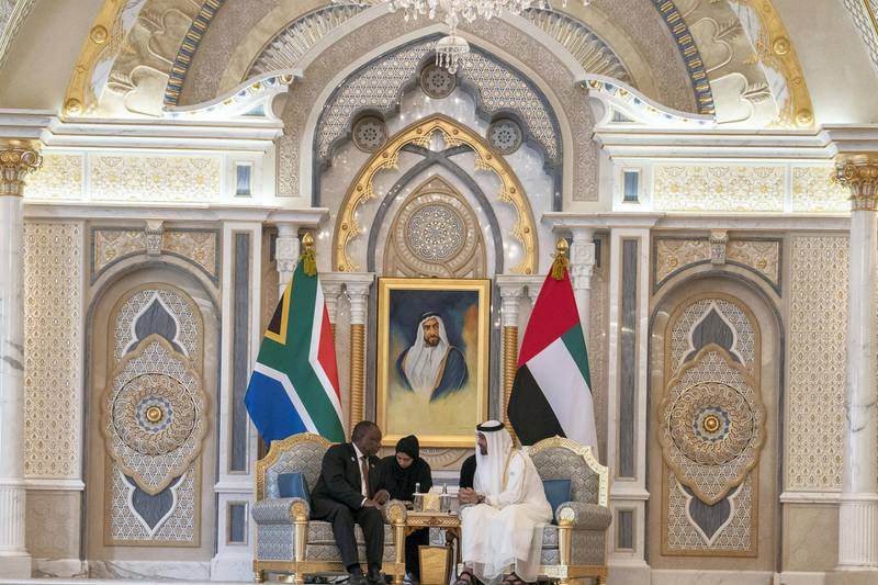 ABU DHABI, UNITED ARAB EMIRATES - July 13, 2018: HH Sheikh Mohamed bin Zayed Al Nahyan Crown Prince of Abu Dhabi Deputy Supreme Commander of the UAE Armed Forces (center R), meets withHECyril Ramaphosa, President of South Africa (center L), at the Presidential Palace.  ( Hamad Al Kaabi / Crown Prince Court - Abu Dhabi )