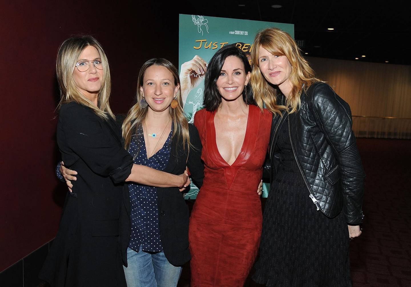 """HOLLYWOOD, CA - APRIL 20: Actress Jennifer Aniston, designer Jen Meyer, director Courteney Cox and actress Laura Dern attend the Los Angeles Special Screening of """"Just Before I Go"""" at ArcLight Hollywood on April 20, 2015 in Hollywood, California.   Angela Weiss/Getty Images for Darin Pfeiffer Consulting/AFP"""