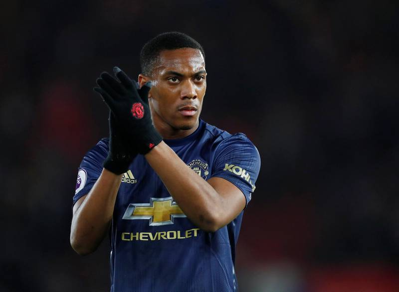 """Soccer Football - Premier League - Southampton v Manchester United - St Mary's Stadium, Southampton, Britain - December 1, 2018   Manchester United's Anthony Martial looks dejected as he applauds the fans at the end of the match    REUTERS/Eddie Keogh    EDITORIAL USE ONLY. No use with unauthorized audio, video, data, fixture lists, club/league logos or """"live"""" services. Online in-match use limited to 75 images, no video emulation. No use in betting, games or single club/league/player publications.  Please contact your account representative for further details."""