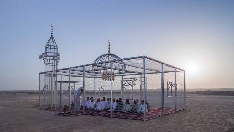 An image that illustrates this article Saudi artist Ajlan Gharem wins Jameel Prize 6 for cage-like mosque installation
