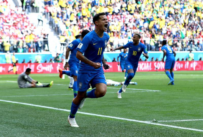 SAINT PETERSBURG, RUSSIA - JUNE 22:  Philippe Coutinho of Brazil celebrates after scoring his team's first goal during the 2018 FIFA World Cup Russia group E match between Brazil and Costa Rica at Saint Petersburg Stadium on June 22, 2018 in Saint Petersburg, Russia.  (Photo by Buda Mendes/Getty Images)