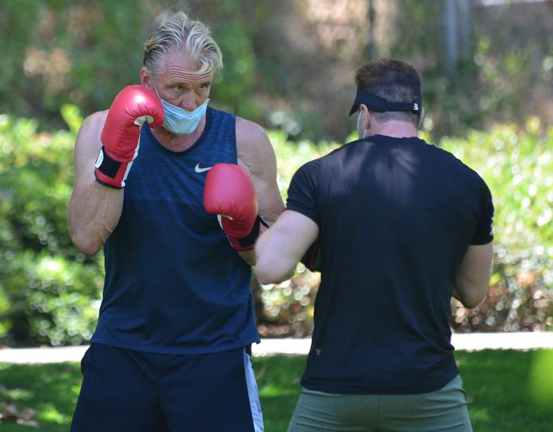 In the US: Exclusive All Round; In the UK: Exclusive All Round; Web - £150 set fee or £50 pp; Print: premium rates apply. Contact your account manager for pricing. Mandatory Credit: Photo by London Entertainment/Shutterstock (10701870m) Exclusive - Dolph Lundgren during a boxing workout in Beverly Hills Exclusive - Dolph Lundgren out and about, Los Angeles, USA - 04 Jul 2020