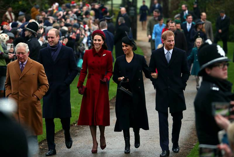 FILE PHOTO: Britain's Prince Charles, Prince William, Duke of Cambridge and Catherine Duchess of Cambridge along with Prince Harry, Duke of Sussex and Meghan, Duchess of Sussex arrive at St Mary Magdalene's church for the Royal Family's Christmas Day service on the Sandringham estate in eastern England, Britain, December 25, 2018. REUTERS/Hannah McKay/File Photo