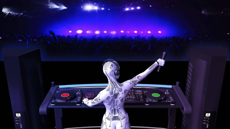 2AT4N5E DJ android, disc jockey robot with microphone playing music on turntables, cyborg on stage with deejay audio equipment, back view, 3D rendering. Alamy