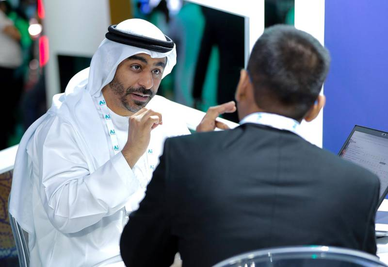 Dubai, April 30, 2019.  Ai Everything show at the Dubai World Trade Centre. -- Visitors and exhibitors at Ai.Victor Besa/The NationalSection:  NAReporter:  P. Ryan and A. Sharma