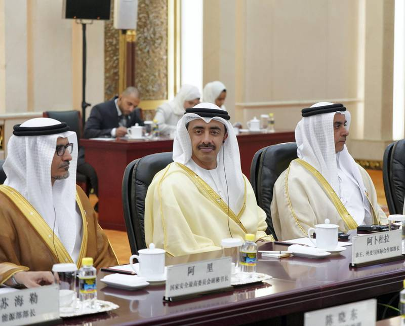 BEIJING, CHINA - July 22, 2019: (L-R) HE Ali Mohamed Hammad Al Shamsi, Deputy Secretary-General of the UAE Supreme National Security Council, HH Sheikh Abdullah bin Zayed Al Nahyan, UAE Minister of Foreign Affairs and International Cooperation and HH Lt General Sheikh Saif bin Zayed Al Nahyan, UAE Deputy Prime Minister and Minister of Interior attend a meeting with HE Li Keqiang, Premier of the State Council of China (not shown), at the Great Hall of the People.  ( Rashed Al Mansoori / Ministry of Presidential Affairs ) ---